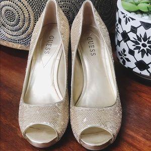 Guess gold sequin peep toe heels